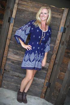Flatter Me in Navy Shift Dress $34 www.katyloo.com