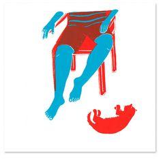 Doro Spiro, zeefdruk. Hoe je met maar 2 kleuren 3 kleuren maakt: rood, blauw en rood+blauw = bruinig.
