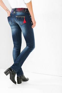 Desigual Regular fit embroidered jeans. Our denim isn't the same, discover it!