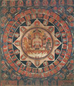 Chandra (Moon God) Mandala  Tibetan: ཟླ་བ།  Chinese: 月神 (item no. 89042) Origin Location:Nepal - Date Range:1400 - 1499 - Lineages:Buddhist - Material:Ground Mineral Pigment on Cotton - CollectionPrivate