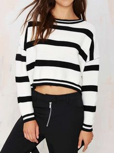 Stylish Round Neck Long Sleeve Black and White Stripe Knitted Crop Top For Women Striped Long Sleeve Shirt, Striped Crop Top, Black Crop Tops, Striped Knit, Long Sleeve Crop Top, Stripe Top, White Tops, Sweater Weather, Vetements Clothing