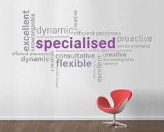 Word Cluster wall sticker word cloud wordle in Office Wall Stickers by Vinyl Impression
