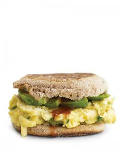 Egg-and-Avocado Sandwich - Scrambled egg and avocado on a toasted whole-wheat English muffin make a terrific 10-minute breakfast for any day of the week. Add hot sauce and a slice of cheddar cheese if you like.