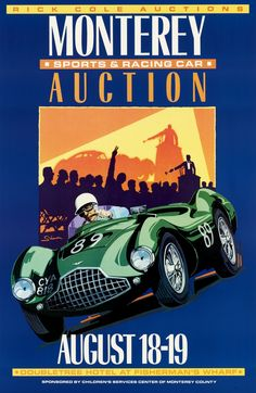 Monterey Auction Poster, Vintage Style, Aston Martin by © Dennis Simon. This poster is available at centuryofspeed.com