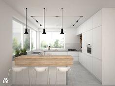 Dom - 65 m2 - Duża otwarta kuchnia w kształcie litery g z wyspą, styl skandynawski - zdjęcie od BIG IDEA studio projektowe