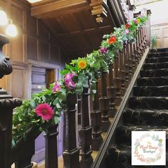 Floral stair case Garland in bright colours including Gerbera