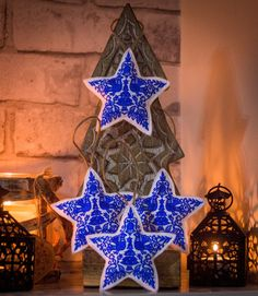 Excited to share the latest addition to my #etsy shop: Four Handmade Christmas Stars, Scandinavian Embroidered Ornaments, Winter Home Decorations, Nordic Christmas Tree Hangings http://etsy.me/2mOeqI8