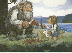 NEW - Rolf Lidberg Troll Sweden Postcard - Barkbaten - Bark Slicing