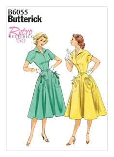 B6055 | Misses' Circular Patch-Pocket Dress and Belt Sewing Pattern | Butterick Patterns