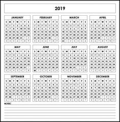 printable calendar 2019 with notes