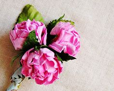 Bon Bon Pink Crinkle Rose Millinery flower Corsage Pin -wedding corsage boutonniere, paper jewelry, decoration, embellishment