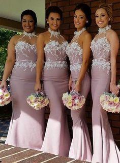 $129-High Neck Mermaid Satin Bridesmaid Dresses with Handmade Flowers Maid of…