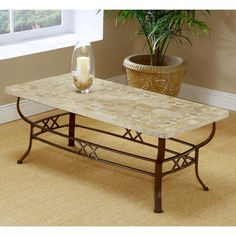 LINE Hillsdale Furniture - Brookside Wrought Iron Coffee Table w Fossil Stone Top Coffee Table And Side Table Set, Coffee Table With Drawers, Coffee Table Furniture, Black Coffee Tables, White Side Tables, Cool Coffee Tables, White Coffee, Buffets Furniture, Furniture Ideas