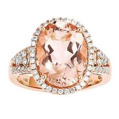 Oval Morganite and 3/8 CT. T.W. Diamond Ring in 14K Rose Gold - Size 7