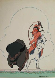 Buffalo hunt by Archie Blackowl(Southern Cheyenne painter from Oklahoma who played a pivotal role in mid-20th century Native American art.)