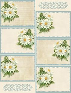 Spring daisy notecards ~ lined and plain versions.  Free printable :)