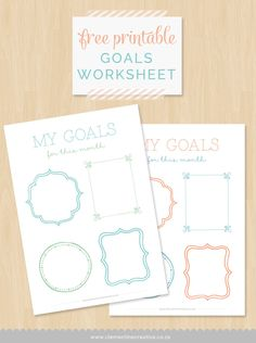 Free Printables - Goals worksheet