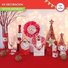 Navidad verde y rojo: kit decoración imprimible