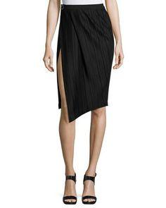 B3UET Thierry Mugler Plissé Paneled Side-Slit Skirt, Black