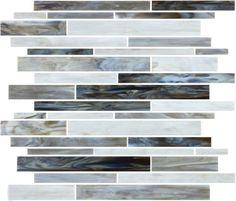 #VitraArt #StainedGlass #RandomStripMosaic in #Alabastro - Available at #MidAmericaTile  #mosaic #glass #tile #backsplash #bath #kitchen #white #gray #grey #black #bianco #grigio #negro #charcoal #grayscale #monochrome #OysterShell #pearl