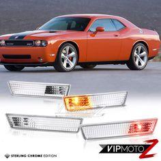 Driver /& Passenger Side VIPMOTOZ Smoke Lens Red Full LED Front Side Marker Light Parking Lamp For 2008-2014 Dodge Challenger