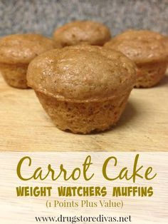 Weight Watchers Carrot Cake Muffins Only 1 Points Plus Value each!! Quick and easy too only three ingredients!