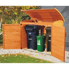 Garbage can storage shed: garbage storage. Link no longer works: it's a product from Costco that apparently they don't carry anymore. Anyone know the manufacturer? Garbage Can Storage, Garbage Shed, Plastic Storage, Small Storage, Living Pool, Outdoor Living, Wood Storage Sheds, Carport Storage, Carport Sheds