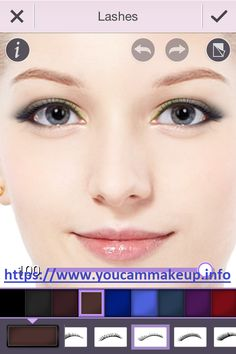 Change your eye lashes and add colors in different shades with YouCam Makeup Download https: