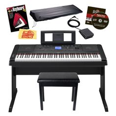 Yamaha DGX-660 88-Key Portable Grand Digital Piano Bundle Furniture-Style Bench, Dust Cover, Sustain Pedal, Instructional DVD, Instructional Book, and Polishing Cloth - Black  World class concert grand piano sound with Pure CF Sampling Easy to read score and lyric display An authentic piano touch with an 88-note weighted GHS Keyboard USB Audio Recording/Playback A truer sound with Damper Resonance