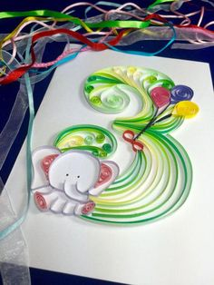 Quilling For Kids #quillingdesignkids Quilling Birthday Cards, Paper Quilling Cards, Origami And Quilling, Paper Quilling Patterns, Quilled Paper Art, Kids Birthday Cards, Arte Quilling, Quilling Letters, Quilling Paper Craft