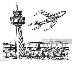 vector drawing of an Airport with Tower, Main Building and a departin.Hand-drawn vector drawing of an Airport with Tower, Main Building and a departin. Airplane Doodle, Airplane Sketch, Airplane Illustration, Airplane Drawing, Cartoon Drawings, Easy Drawings, Mind Map Art, Kindergarten Art Lessons, Background Drawing