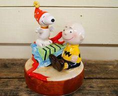 Schmid Snoopy Charlie Brown Music box Vintage 1980's by jpmslcom