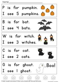 Halloween Reading Activities for kids reading at Guided Reading Levels A and B ~  Designed to keep little learners reading even as they get excited about their upcoming celebrations.  {Free.}