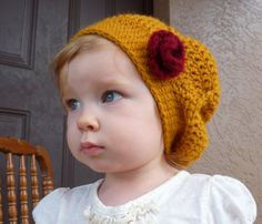 Crochet Beanie Hat Slouchy Beanie Beret by LittleMommaBoutique, $30.00