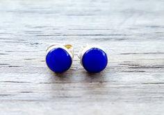 Lapis Stud Earrings - Sterling Silver Lapis Lazuli Earrings - Blue Studs - Lapis Earrings- Tiny Round Stud Earrings  Simple and beautiful 925
