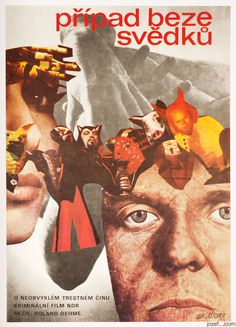 Vintage poster for German crime drama A Case Without Witnesses. Poster design by Karel Laštovka, 1977. #poster #collage #graphicdesign