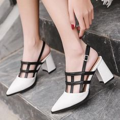 Shoes: Women Shoes Shoes Type: Women Sandals Back Counter Type: Back Strap Lining Material: PU Occasion: Party Pattern Type: Mixed Colors Upper Material: PU Side Vamp Type: Open Platform Height: 0-3cm Insole Material: Rubber With Platforms: Yes Closure Type: Buckle Strap Heel Type: Square heel Heel Height: High (5cm-8cm) Outsole Material: Rubber Sandal Type: Basic Fashion Element: Buckle Style: Rome Colors: white Occasion: Party, Casual, Office Heel type: Thick Heel Fashion element: Wedges…