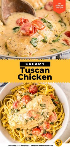 This Tuscan Chicken recipe is quick to prepare and so full of flavor! It's a delicious Italian chicken dish made with chicken broth, heavy cream, Parmesan cheese, chicken breasts, tomatoes and more. Serve over pasta for a hearty weeknight dinner. Creamy Tuscan Chicken Recipe, Italian Chicken Dishes, Chicken Skillet Recipes, Fresh Chicken, Cream Cheese Chicken, Cooking Stuff, Spinach And Cheese, Chicken Breasts, Quick Meals