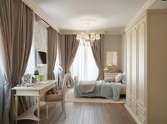 Interesting Picture Of Blue And Cream Bedroom Design And Decoration: Enchanting Girl Blue And Cream Bedroom Decoration Ideas Using Solid Cherry Wood Parquet Bedroom Flooring Including Accent Pattern Light Blue Bedroom Wallpaper And Cream Beige Drapery Bedroom Curtain ~ fendhome.com Bedroom Inspiration