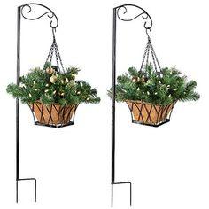 "Pre-Lit Versailles Hanging Walkway Basket-16""-Set of 2"
