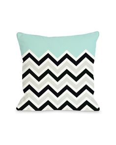 One Bella Casa 'Chevron Solid' Decorative Pillow. Love seafoam blue with black, gray, and white chevron pattern.