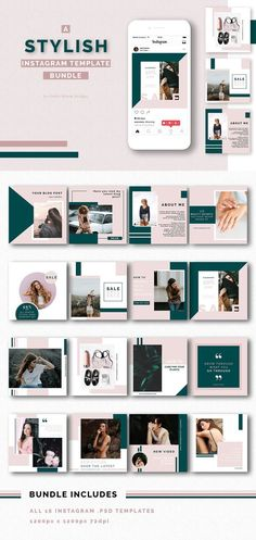 Stylish Instagram Templates Bundle Display your photos, promotions and content beautifully with this stylish and modern instagram bundle. This pack is perfect for creating a cohesive social media presence for your blog, business or brand.