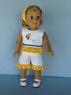 Short Set and headband  for 18 inch dolls like American Girl, or Our Generation. Honeybee short set.
