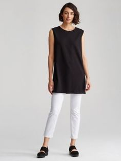 Jewel Neck Tunic in Organic Cotton Stretch Jersey