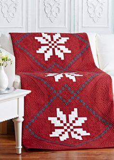 Nordic Snowflakes by designer @Guðrún Þóra Erla of GE Designs. Fabrics are the Nordic Visions collection by Gudrun Erla for Red Rooster Fabrics.