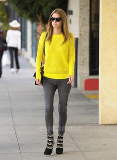 This neon yellow sweater rocks! Love the boots!
