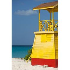 Barbados Lifeguards tower on Miami Beach Oistins Canvas Art - Ian Cumming Design Pics (24 x 38)