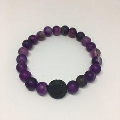 Adult Lavender Bead and Lava Rock Diffuser Bracelet - Lava Bead Essential Oil Bracelet - Oily Keira B
