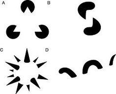 Optical illusions of Gaetano Kanizsa (Gestaltgesetz zur spontanen Ergänzung von gegebenen Reizmustern)