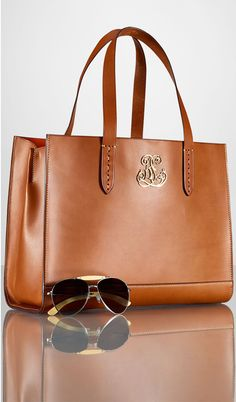 e8701236da RL Crest Vachetta Open Top Leather Tote Bag by Ralph Lauren now on sale
